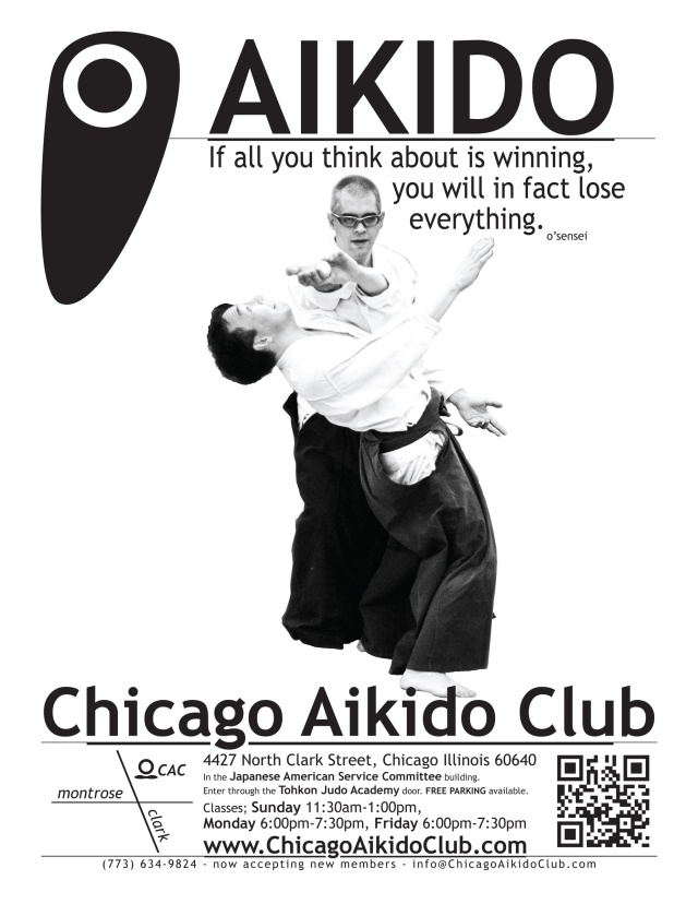 Chicago Aikido Club fall poster with Dwight Sora and Luis Vera