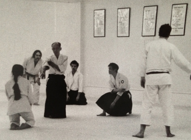 Jo Takehara with Aikido Doshu Kisshomaru Ueshiba
